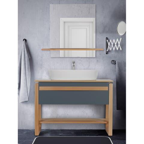 Giallo Rosso Bali 40 Inch Modern Freestanding Bathroom Vanity with Vessel Sink and Mirror (Gray Oak)