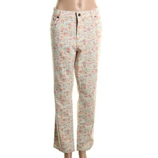 LRL Lauren Jeans Co. Womens Twill Floral Print Straight Leg Jeans - 2