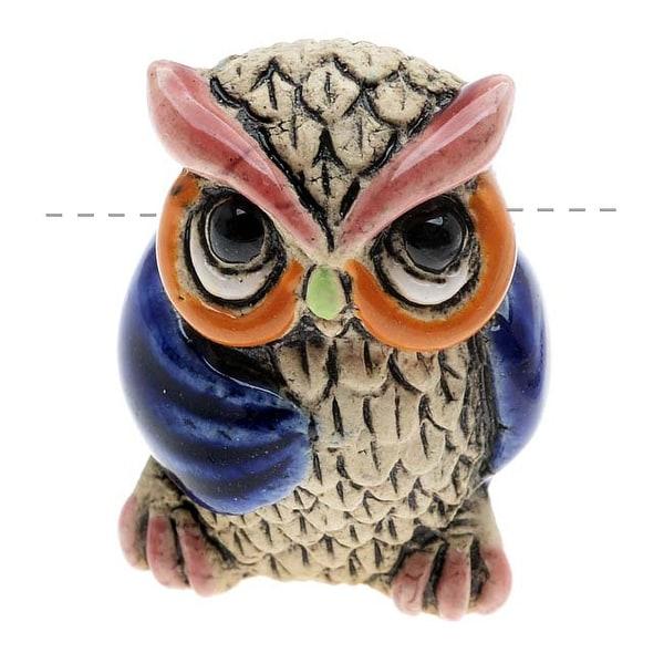 Glazed Ceramic Bead - Sitting Owl With Blue Wings 16x22.5mm (1)