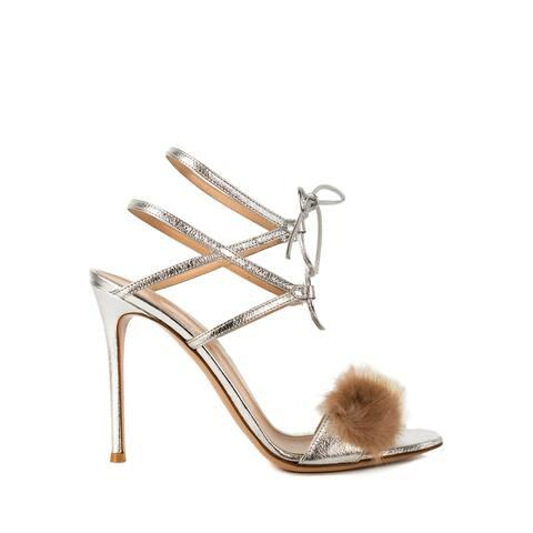 Gianvito Rossi Womens Metallic Silver Zelda Heeled Sandals
