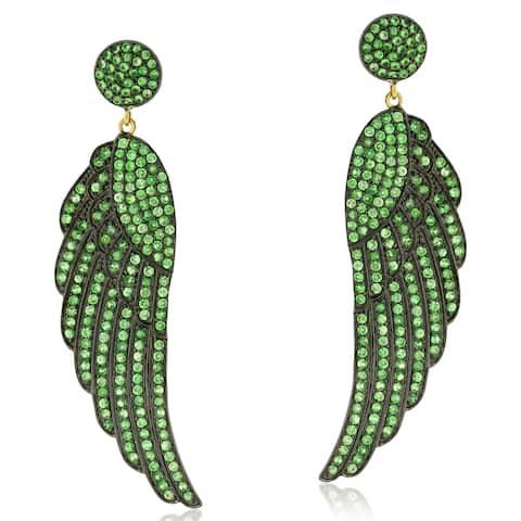 Angel Wing Dangle Earrings Tsavorite 14k Gold 925 Sterling Silver Jewelry