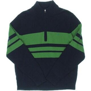 Izod Mens Ribbed Trim Striped 1/2 Zip Sweater