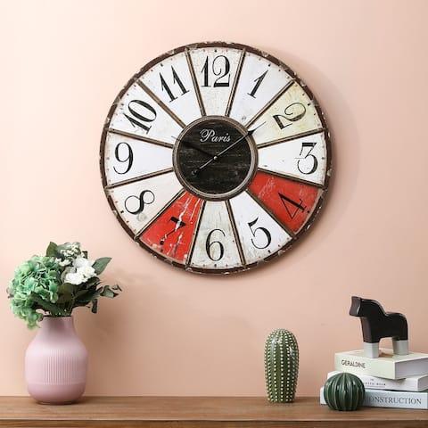 23.6in. Dia. Iron and MDF Multi-Color Wall Clock - 23.6in Dia.