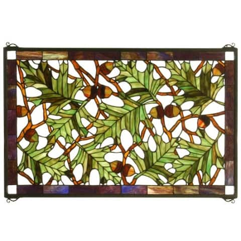 Meyda Tiffany 66276 Tiffany Rectangular Stained Glass Window Pane from the Tall Oak Collection -