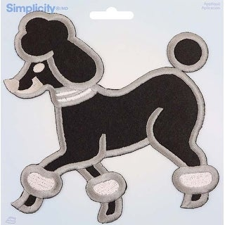 Large Poodle; Black W/Gray Embroidery - Wrights Iron-On Applique