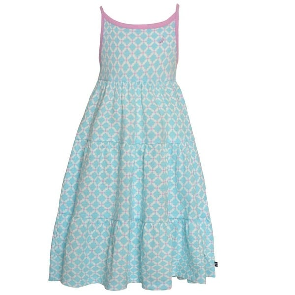 Nautica Baby Girls Turquoise Diamond Pattern Sleeveless Casual Dress 18M
