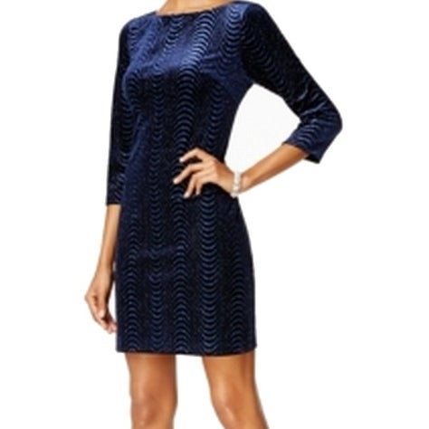 2dc05990 Shop Jessica Howard NEW Blue Women's Size 12 Glitter Velvet Shift Dress -  Free Shipping On Orders Over $45 - Overstock - 18367280