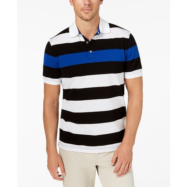 43e0d90553a Shop Club Room Black Blue Mens Size 3XL Striped Polo Rugby Shirt - Free  Shipping On Orders Over $45 - Overstock - 28011870