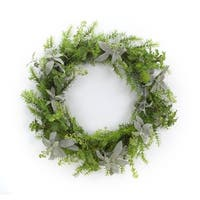 "24.5"" Pear Green and Smoke Gray Large Decorative Plastic Herb Wreath"