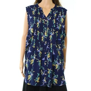 Charter Club NEW Blue Women's Size 3X Plus Printed Pleated Blouse