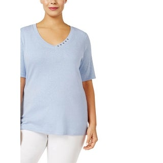 Karen Scott Womens Plus T-Shirt Cotton Heathered