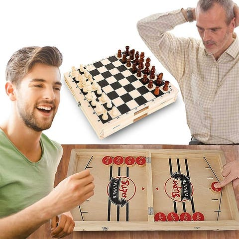 Fast Sling Puck Game & Chess 2 in 1 Set- PacedWooden Hockey Game, Slingshot Board Portable Wooden Game - 22.05*11.8*1.18 in