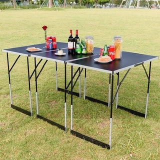Gymax 3PCS Folding Outdoor Camping Picnic Table Set Height Adjustable Indoor