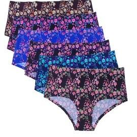 Women's 6 Pack Floral Laser Cut No-Show Briefs Panties