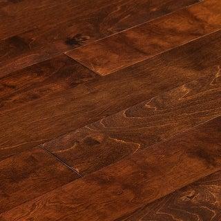"Kanstar Engineered Hardwood - 17.5 sq. ft. Handscraped Birch Collection Birch - Texas brown / 5"" / 1/2"" / Random Lengths"
