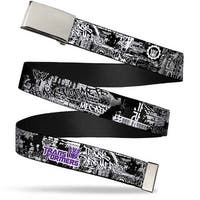 Blank Chrome  Buckle Transformers Decepticon Tag Black White Purple Web Belt - S