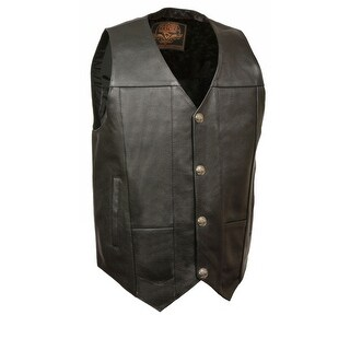 Mens Leather Plain Side Buffalo Nickel Snap Vest