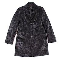 INC Black Mens Size Large L Leopard Print Metallic Top Coat