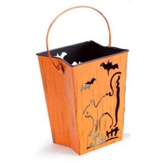 "7"" Distressed Orange Cat and Bats Halloween Candle Lantern Luminary"