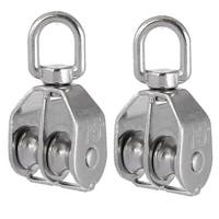 Unique Bargains M15 304 Stainless Steel Double Sheave Swiveling Head Crane Pulley Block 2pcs