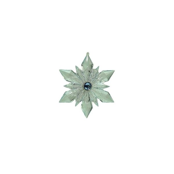 "5"" Winter Light Silver and Blue Gem Accented Snowflake Christmas Ornament"