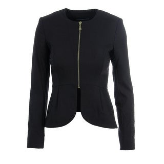 French Connection Womens Peplum Long Sleeves Collarless Blazer - 2