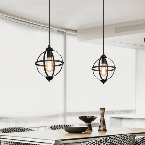"Industrial Farmhouse 1-light Black Globe Metal Pendant Lights - D9.44"" * H13.38"""