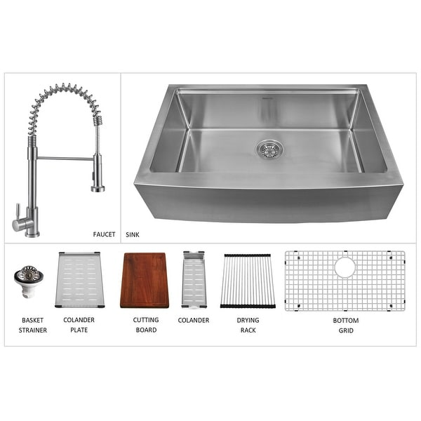"Karran 33"" Undermount Large Single Bowl Stainless Steel Farmhouse Workstation Sink - 33"" x 20.63"" x 10"". Opens flyout."