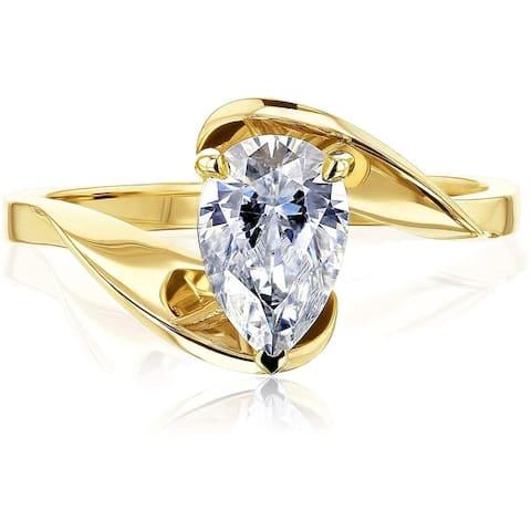 Annello by Kobelli 14K Gold Fanning Bypass Pear Moissanite Ring (GH/VS)