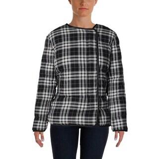 Pure DKNY Womens Coat Reversible Plaid