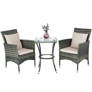 Costway 3PCS Patio Rattan Furniture Set Chairs & Table Garden Coffee