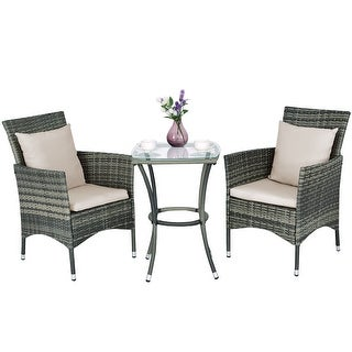 Costway 3PCS Patio Rattan Furniture Set Chairs U0026 Table Garden Coffee
