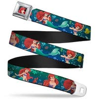 Ariel Close Up Full Color Ariel Poses W Flounder Green Blue Fade Webbing Seatbelt Belt