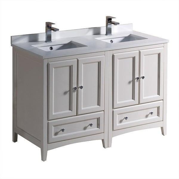 "Fresca FCB20-2424-U Oxford 48"" Free Standing Vanity Set with Wood Cabinet, Quartz Vanity Top, and Dual Undermount Sinks"