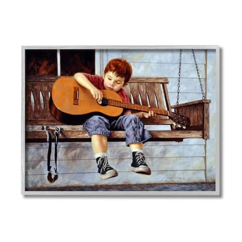 Stupell Industries Boy Strumming Guitar Front Porch Swing Painting Framed Wall Art