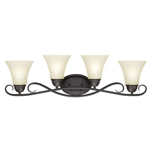 "Westinghouse 6307000 Dunmore 32"" Wide 4 Light Bathroom Vanity Light with Frosted Glass Shades"