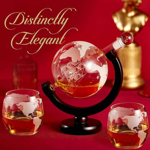 Cheer Collection Globe Etched Whiskey Decanter With Interior Hand-Crafted Glass Ship - Gift Set with Globe Glasses