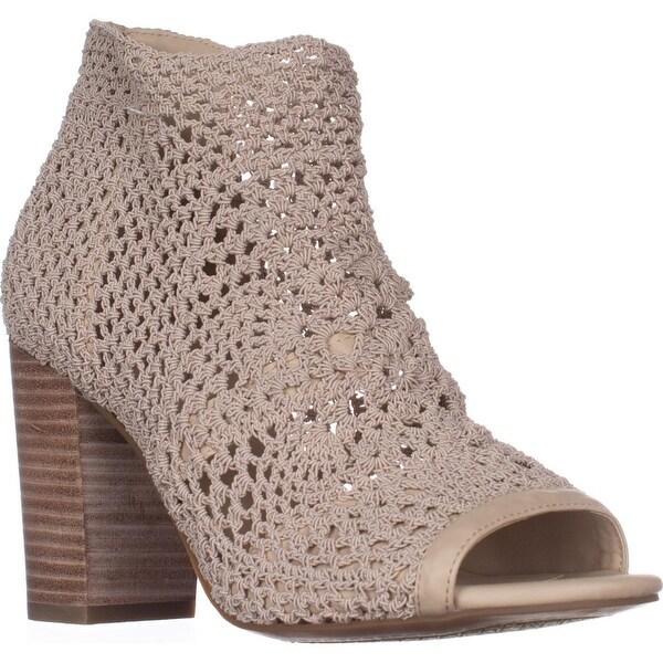 Jessica Simpson Rianne Peep Toe Sandals, Vanilla Cream Stretch Crochet