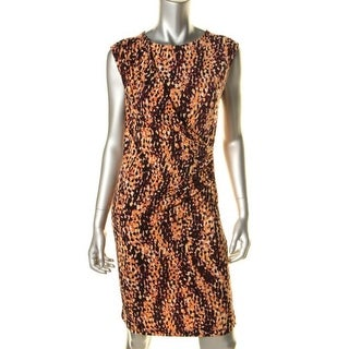 Anne Klein Womens Matte Jersey Printed Wear to Work Dress - L