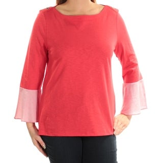 Womens Red Bell Sleeve Jewel Neck Top Size XXL