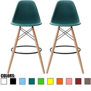 2xhome Set of 2 26-inch Contemporary Eiffel Dowel DSW Counter Height Stool Barstool With Backs For Kitchen Home Side Break Room