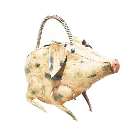 Offex Handmade Iron Multi Color Pig Watering Can