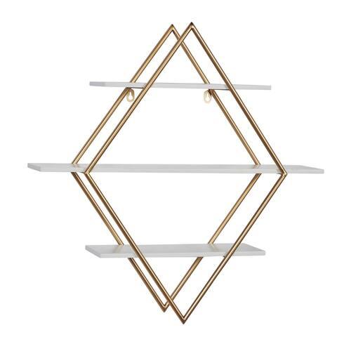 """Metal Wood Diamond-shaped Wall Shelf 20""""L X 11""""W X 19""""H - 20 x 11 x 19"""