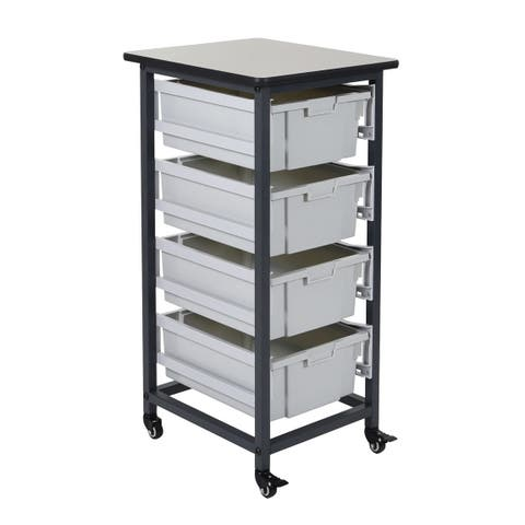 """OF-MBS-SR-4L - Offex 37.5"""" Mobile Bin Storage Unit - Single Row with 4 Large Bins"""