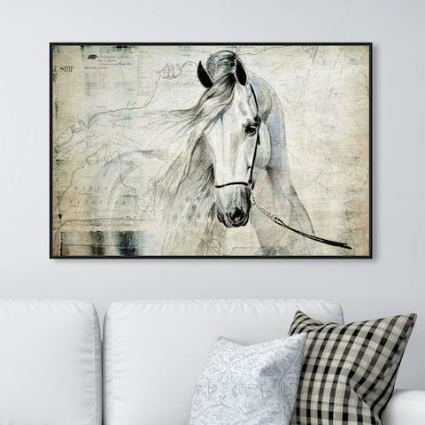 Oliver Gal 'Antiqus Equus' Animals Wall Art Framed Canvas Print Farm Animals - Gray, Brown