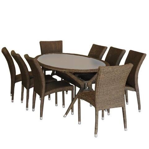 Bari 9-Piece Outdoor Dining Set Wicker Oval Patio Furniture