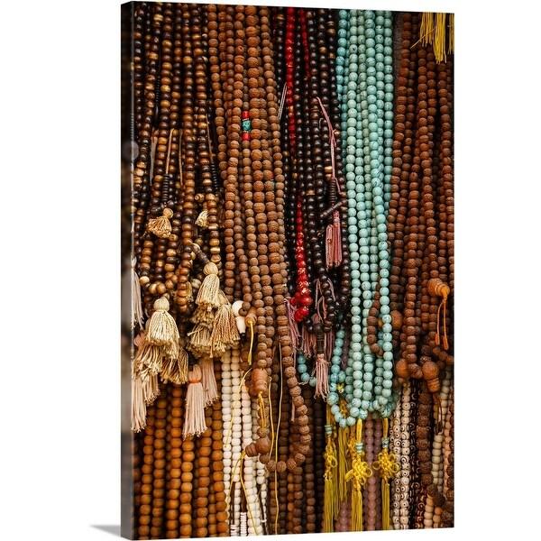 """""""Wooden prayer beads for sale, Kathmandu"""" Canvas Wall Art"""