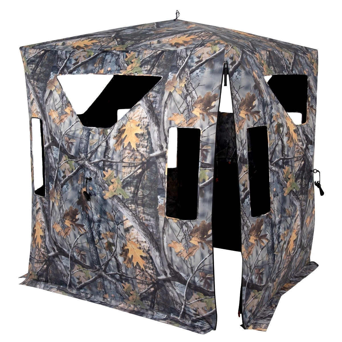 Portable Camo Waterproof Pop Up Ground Hunting Blind Stool Set-A thumbnail