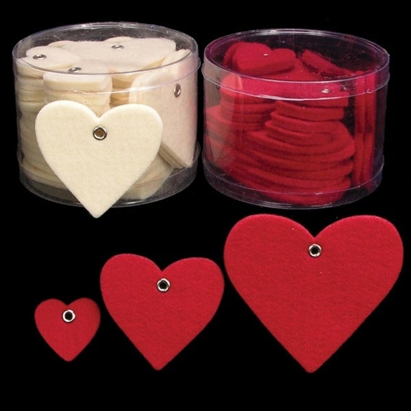 """Club Pack of 144 Ivory Fuzzy Felt Hearts in Assorted Sizes 1"""", 2"""", 3"""""""