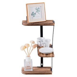 Costway Wall Corner Shelves 3-Tier Rustic Wood Floating Multi-purpose Storage Shelves